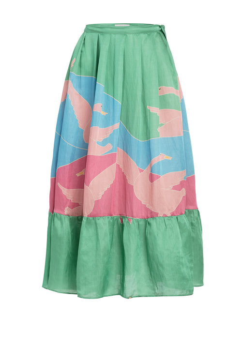 Carolina K Rosa Skirt in Bathing Birds Green