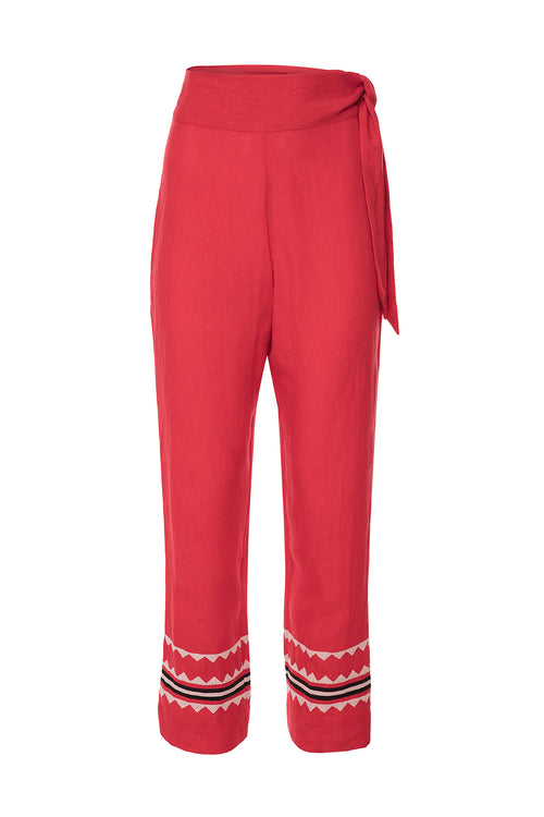 Carolina K Straight Pant Red Triangles