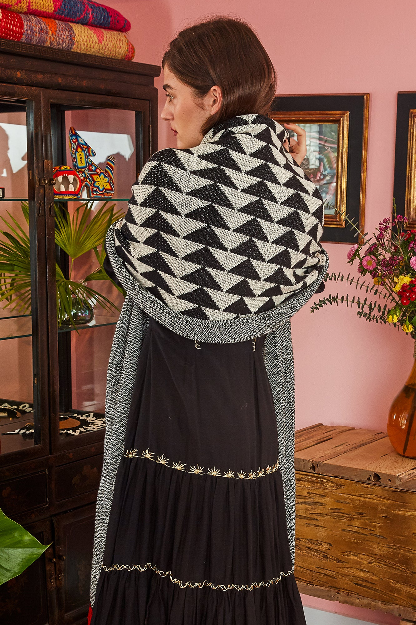 Carolina K Triangle Scarf Black/White