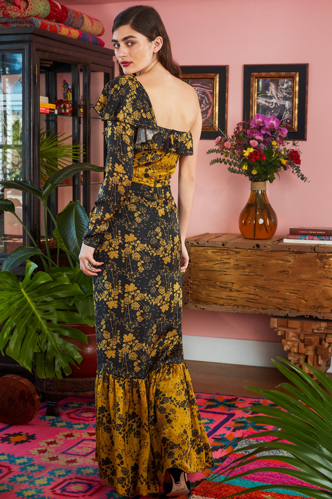 Carolina K Uma Dress Tumeric Roses