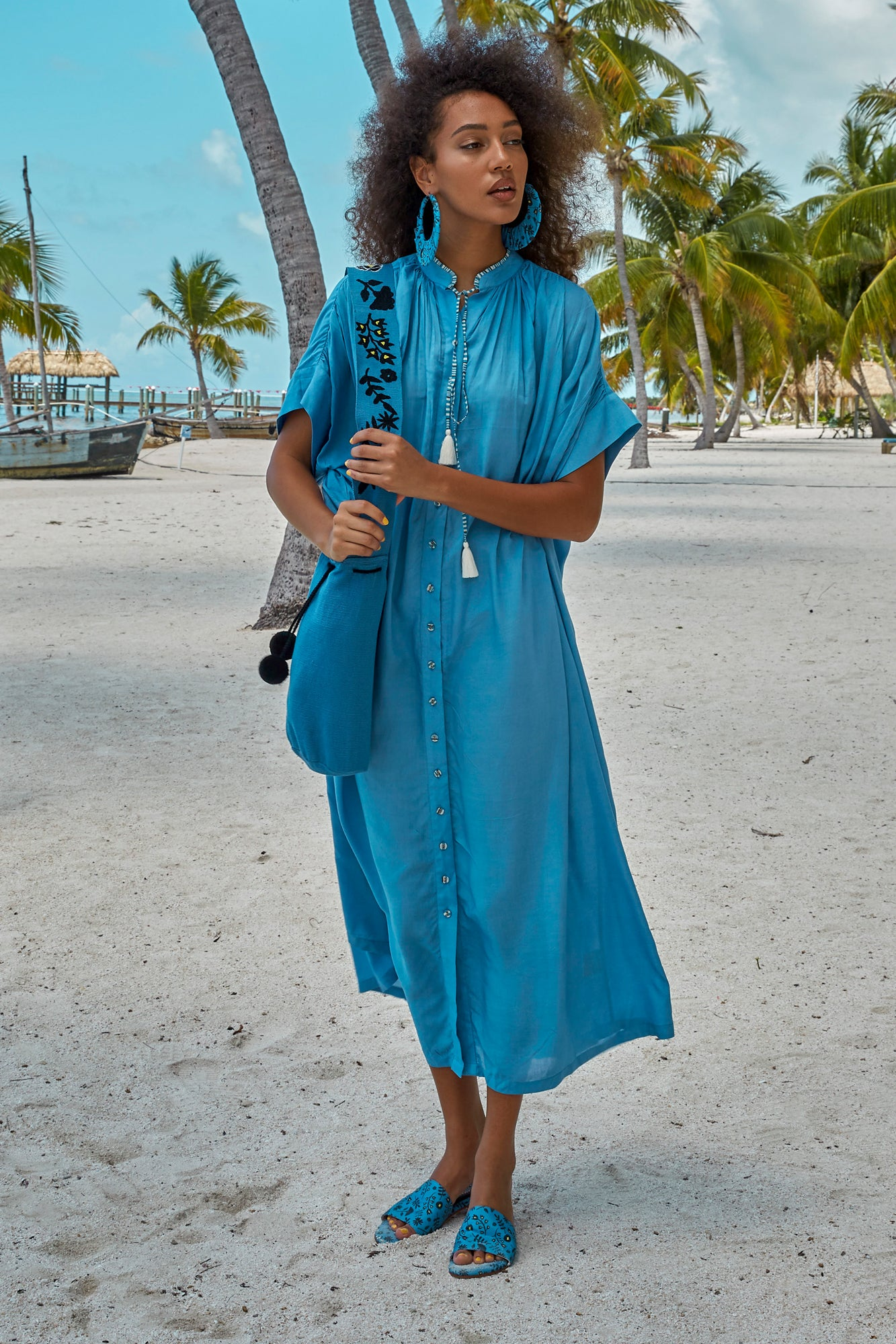 Carolina K Valerie Kaftan in Allure Blue