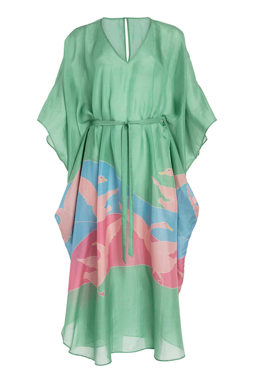 Carolina K Xim Kaftan in Bathing Birds Green