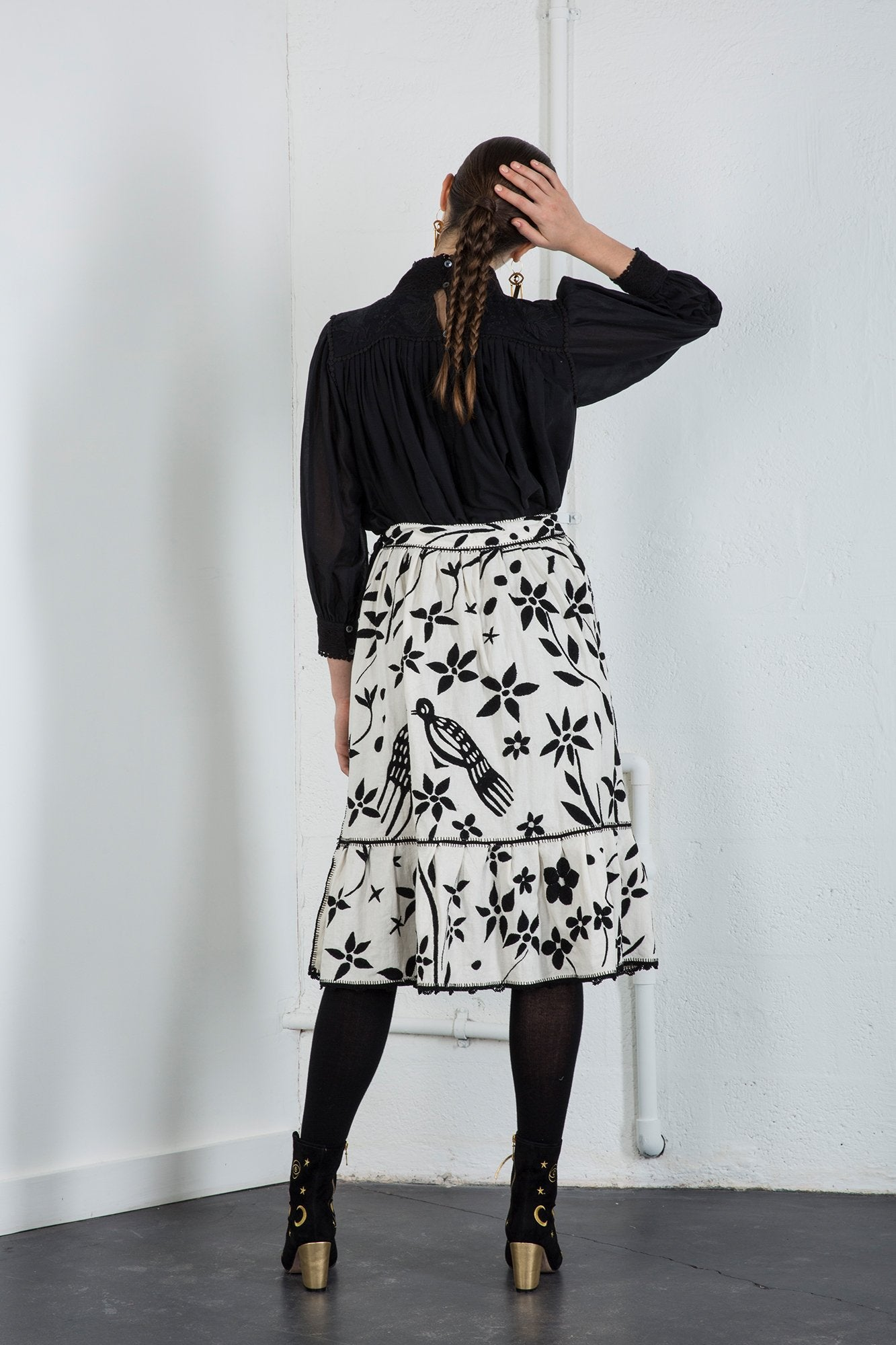 Carolina K Rosa Skirt Off White Black