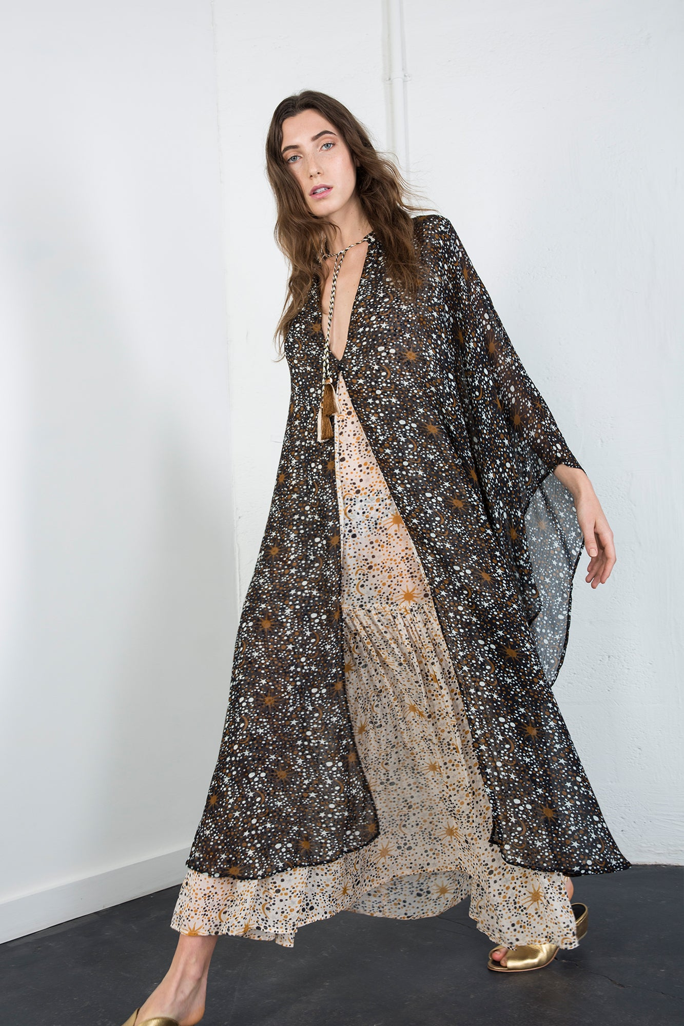 Carolina K Barbara Kaftan Dress Constellation Black