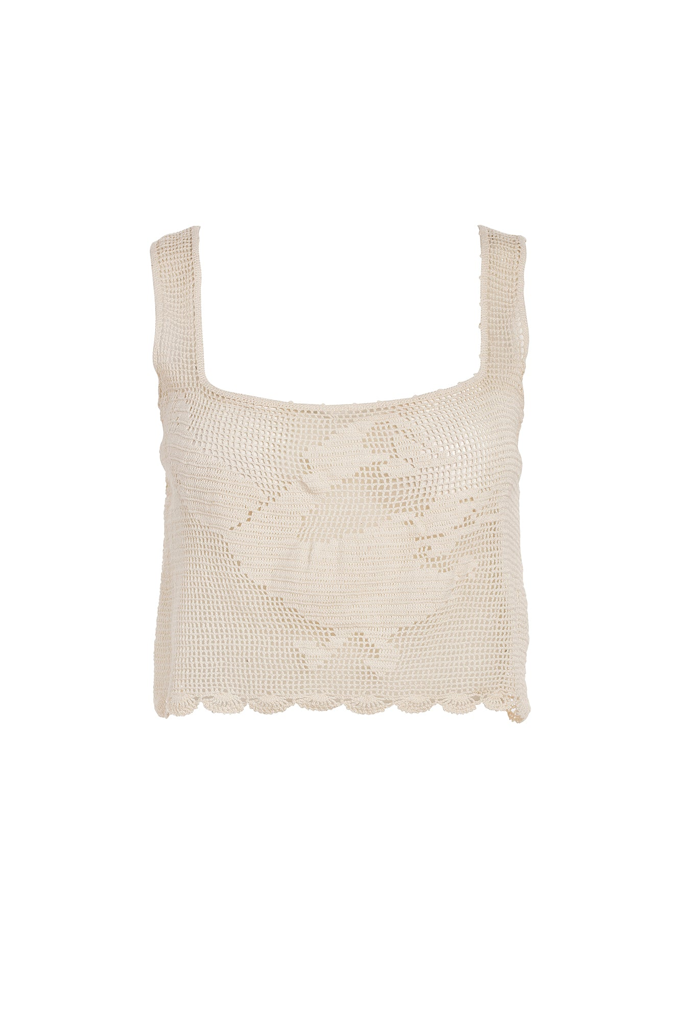 Carolina K Birds Crochet Top in Cream
