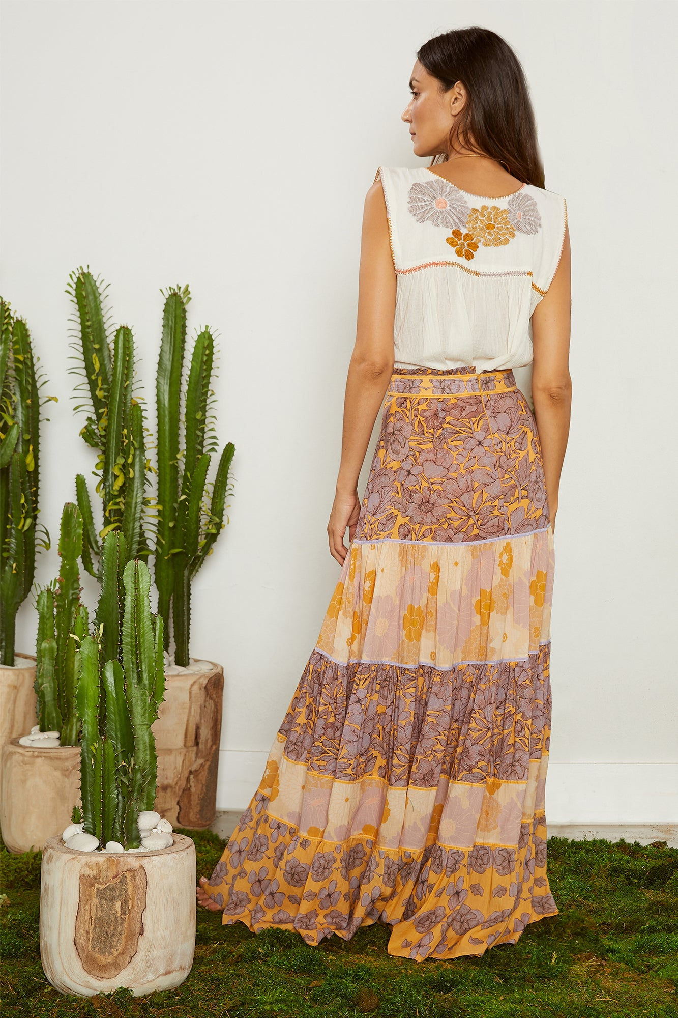 Carolina K Catalina Skirt Purple Peonies