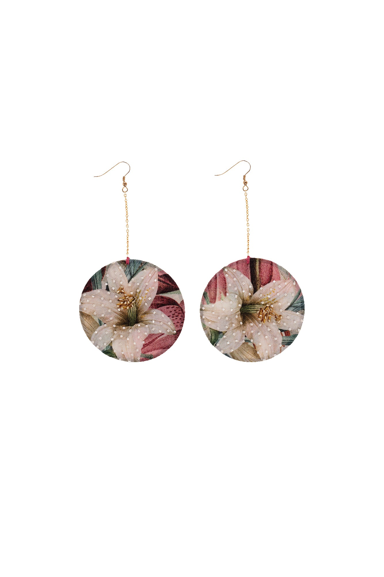 Carolina K Circle Embroidered Earrings