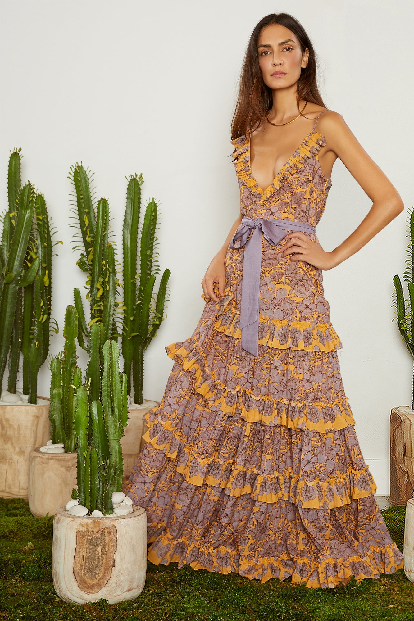 Carolina K Julia Dress Purple Peonies