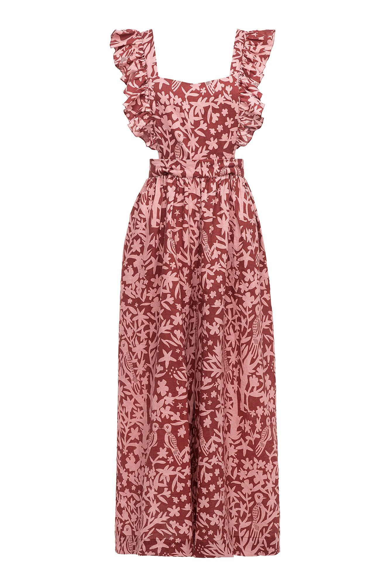 Carolina K Karen Jumpsuit Birds Rose Tan