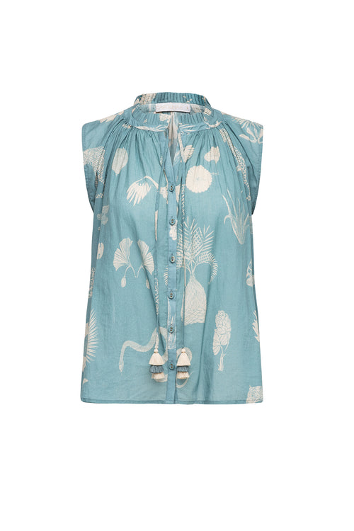 Carolina K Miranda Blouse Desert Animals Blue