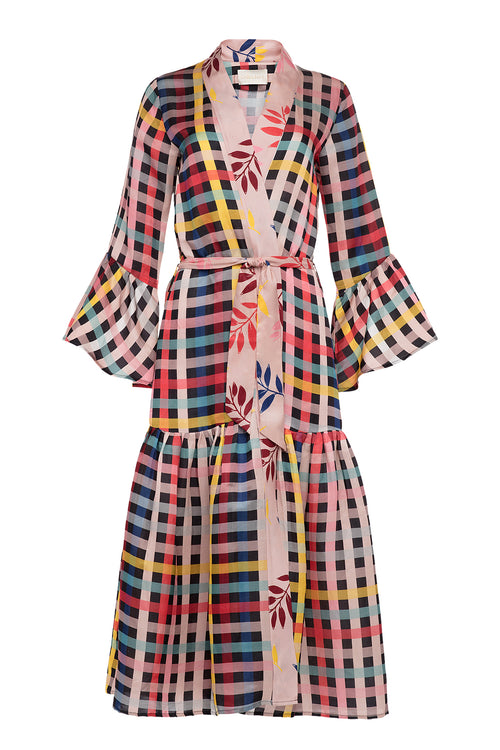Carolina K Zero Waste Nico Robe Lo Plaid/Foliage