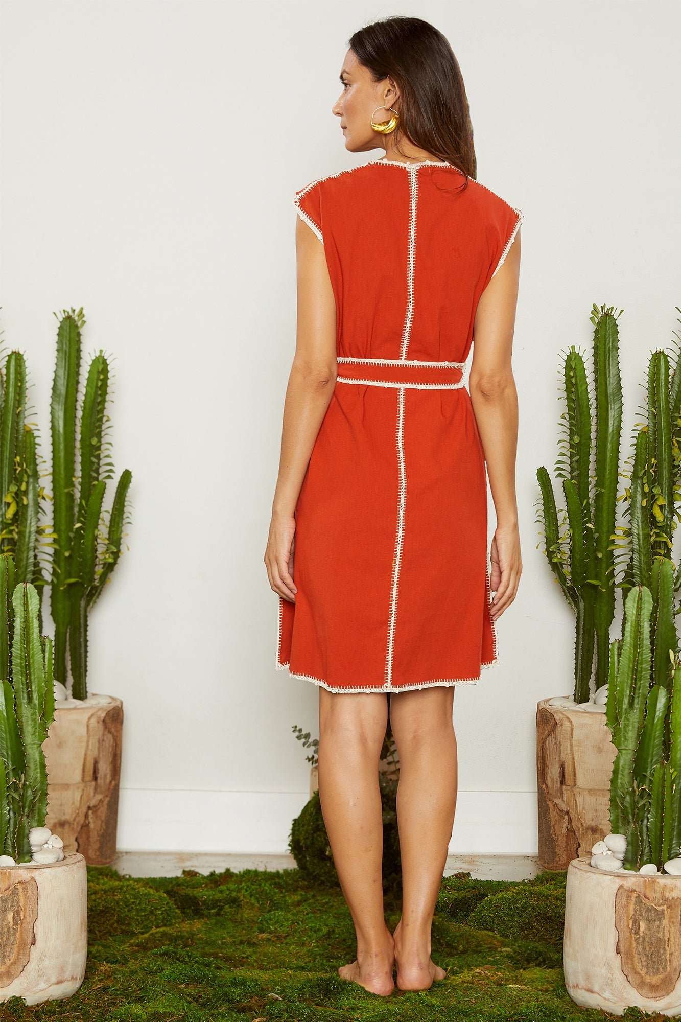 Carolina K Oaxaca Sleeveless Dress Koi Red