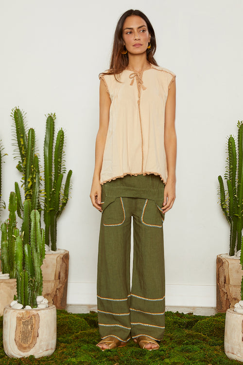 Carolina K Oaxaca Sleeveless Shirt Cream