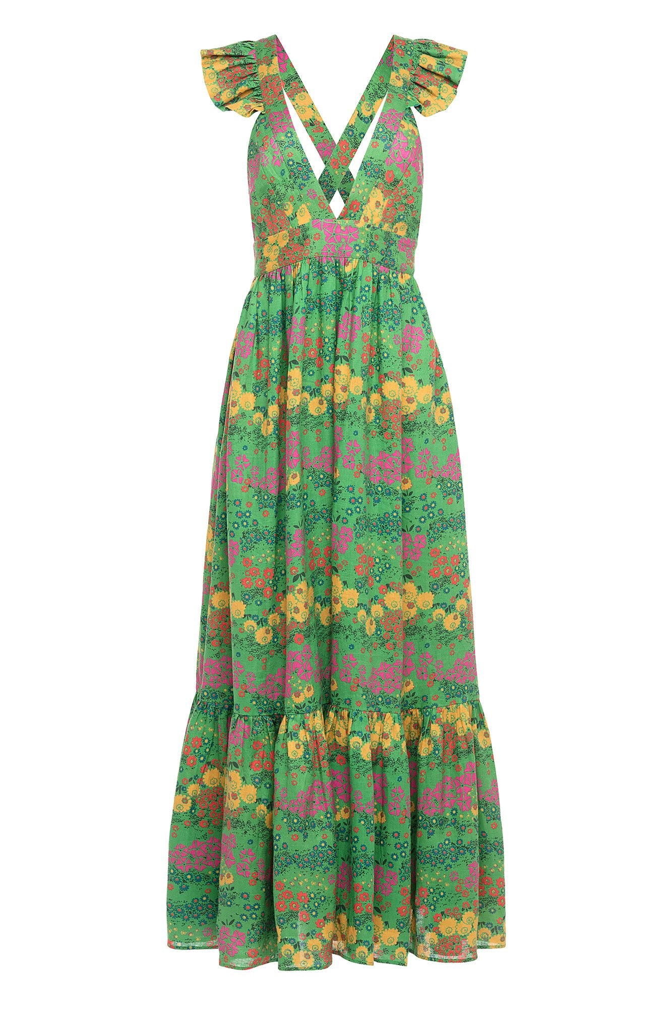 Carolina K Penelope Dress Vintage Green Flowers