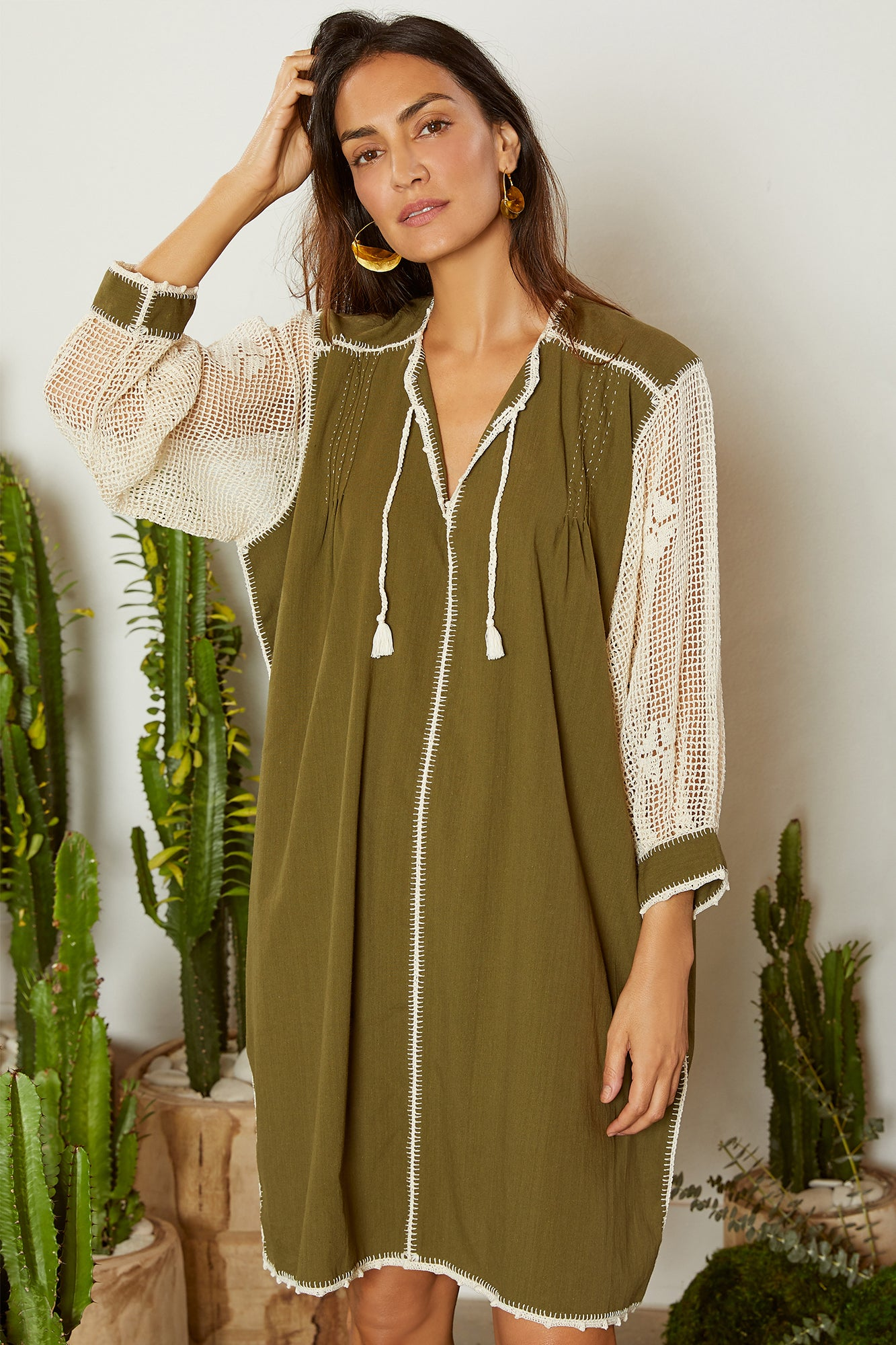 Carolina K San Juan Dress Olive Green