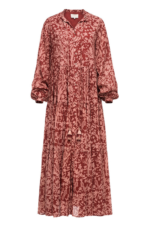 Carolina K Valeria Printed Dress Birds Rose Tan