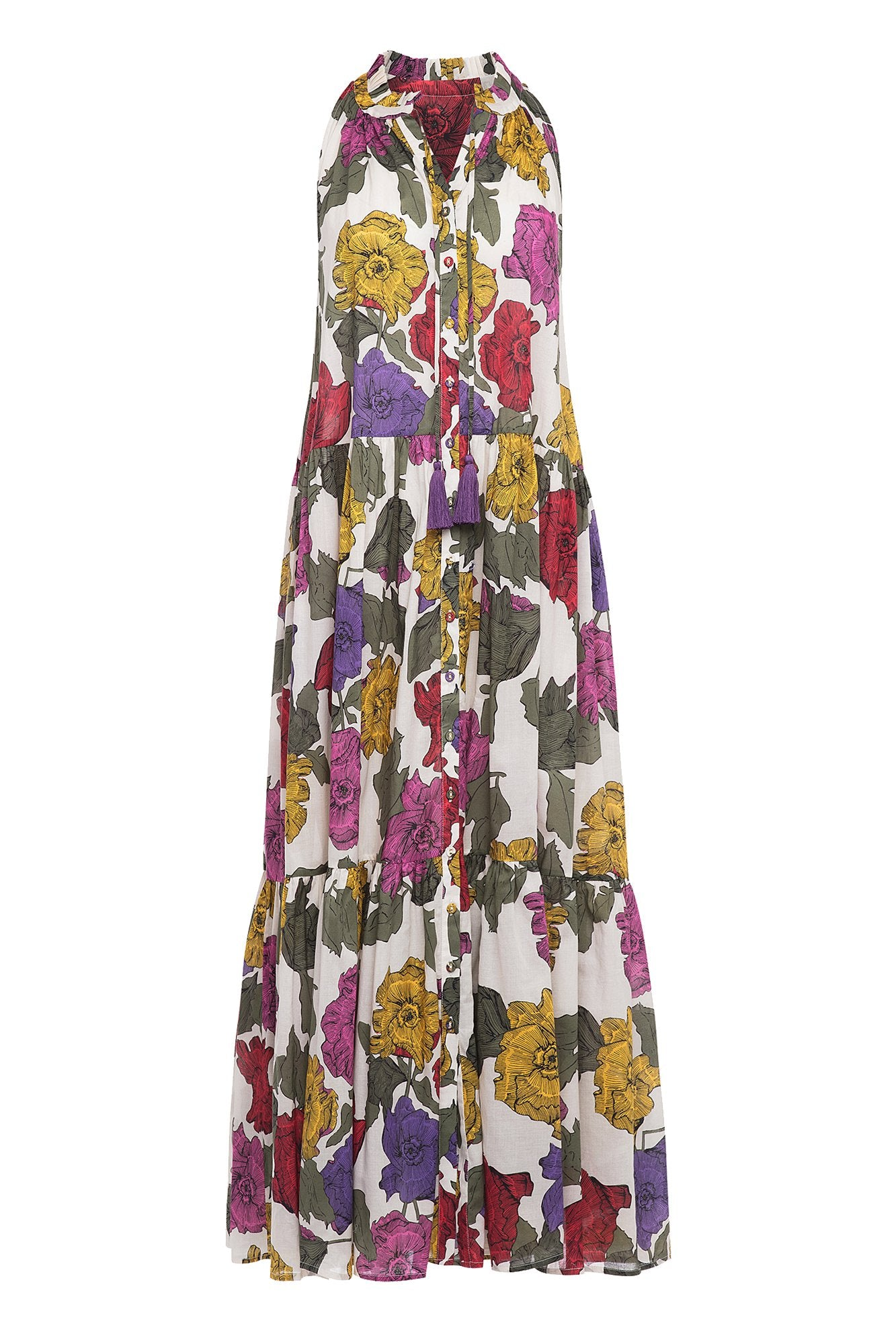 Carolina K Vall Kaftan Rainbow Flowers
