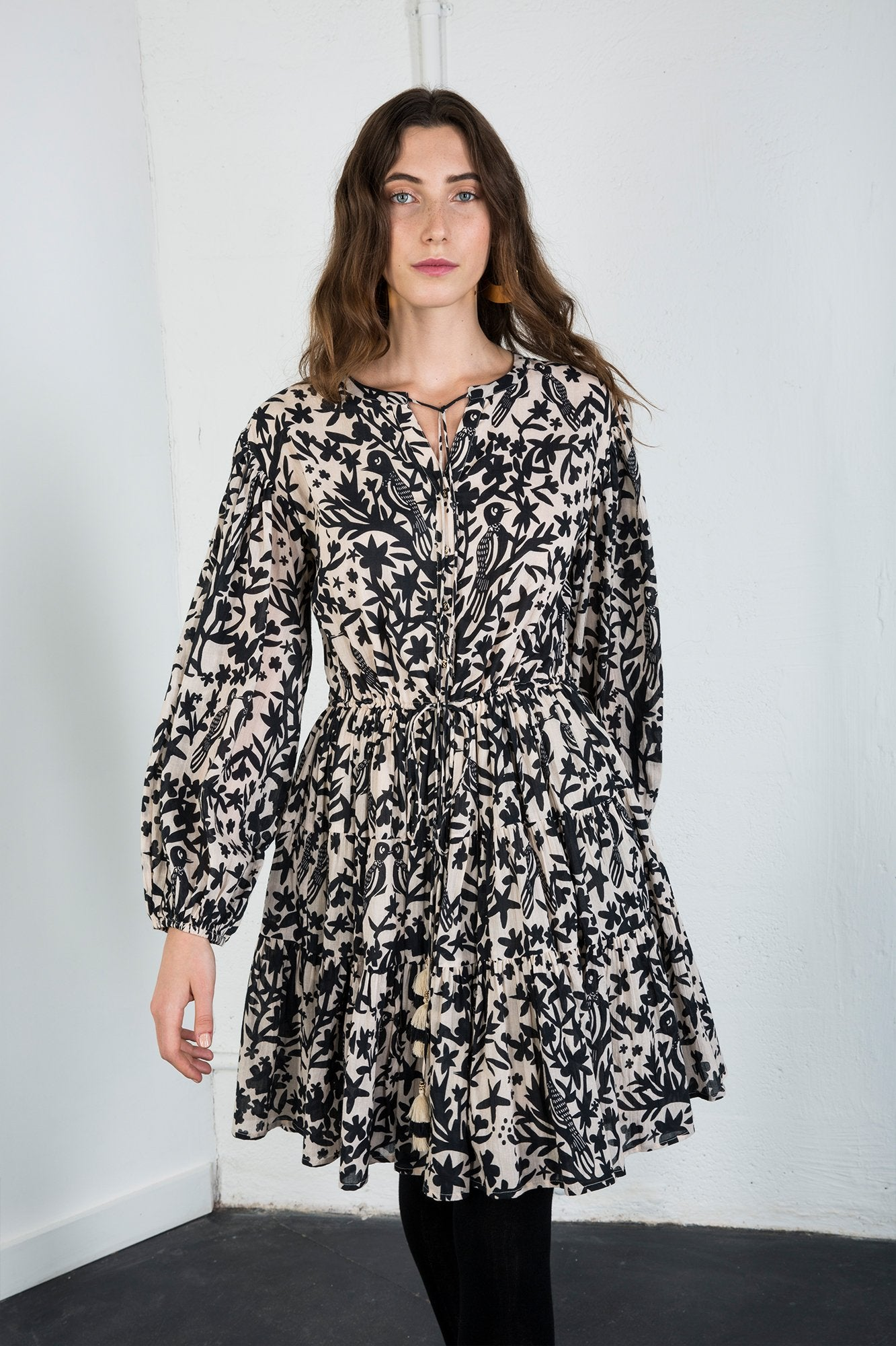 Carolina K Viola Dress Off White/Black