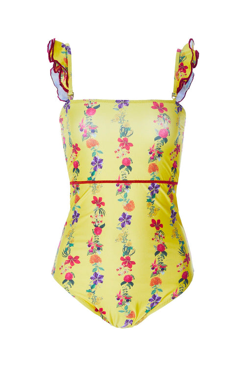Carolina K Kuna One Piece Swimsuit Flower Stripe Yellow