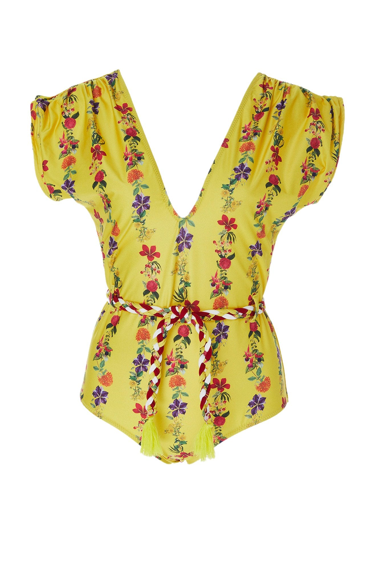 Carolina K Liset One Piece Swimsuit Flower Stripe Yellow