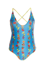 Carolina K Marieta One Piece Swimsuit Flower Stripe Blue Yellow