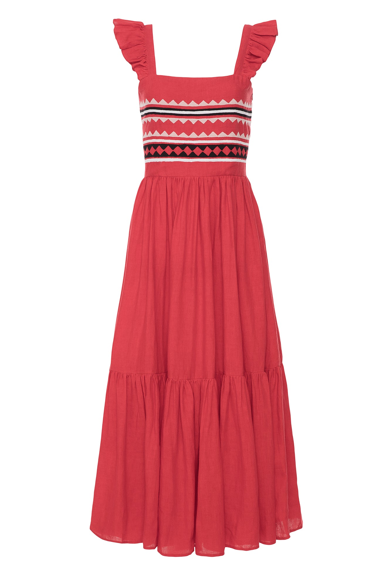 Carolina K Kuna Dress Red Triangle