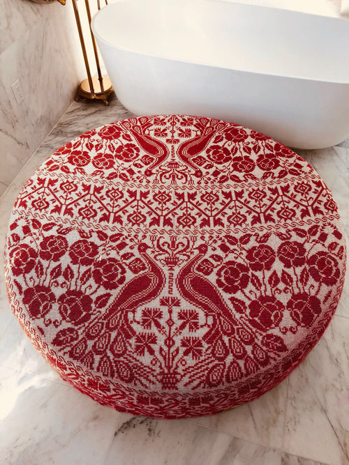Carolina K Large Embroidered Ottoman Cream/Red