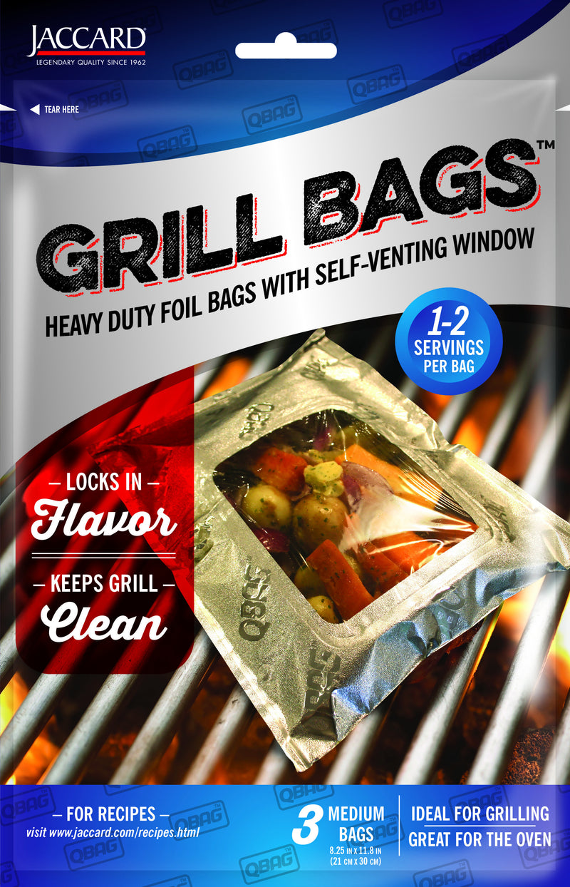 FOOD SERVICE Aluminum Foil Grilling /Oven / RTC Bags With Self Venting Window (3 Pack - Medium)