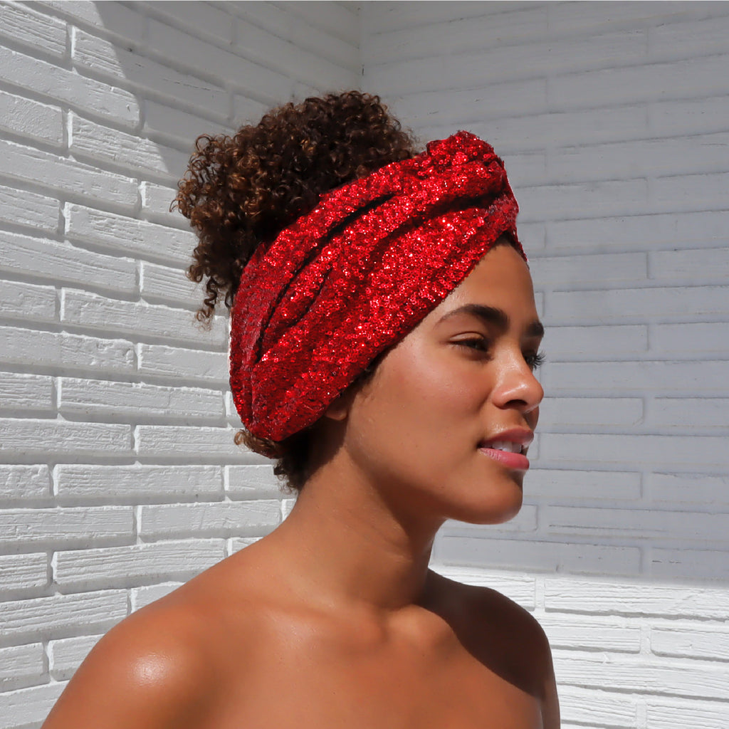 Add a soft edge to your look with this red sequin headband. Featuring a knotted profile, this accessory is perfect to make a statement. It's the perfect way to look eco-consciously cute.  100% Upcycled Sequin Fabric  Handmade in Miami