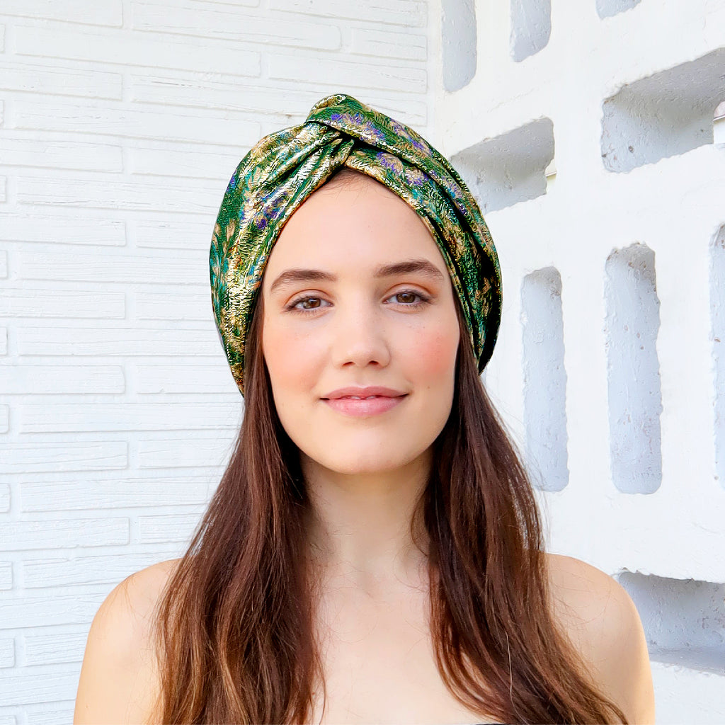 We're loving throwback 70s style these days, and what better way to adopt that into a look than a metallic turban?! Crafted from upcycled material, all of our accessories are made by hand locally.  100% Upcycled   Handmade in Miami