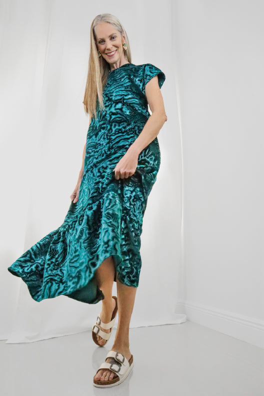 Only two made. Just try keeping your hands off this lustrous textural velvet. Cast in jade green, this maxi dress is universally flattering with its relaxed fit and cap sleeves.  100% Upcycled Velvet  Handmade in Miami