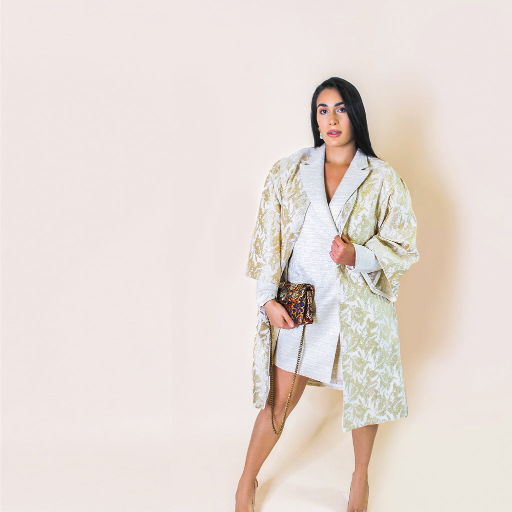 Only Three Made. Exude opulence with this kimono, it's crafted from metallic paisley jacquard. Its stunning structure is perfect for any special occasion through any season.  Fits XS - Large  100% Upcycled Jacquard  Handmade in Miami