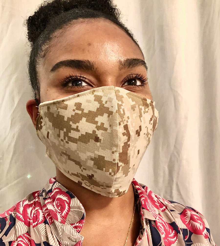 Marines (USMC) Digi Camouflage Face Mask. We're based out of Miami and we're creating handmade face masks to honor our soldiers and veterans. All pre-washed masks are 100% made from upcycle military uniforms and include replaceable Pellon filters and proceeds goes towards military care packages during COVID-19. #sustainable #resuable #upcycle #handmade #handmadefacemasks #facemasks #usmc