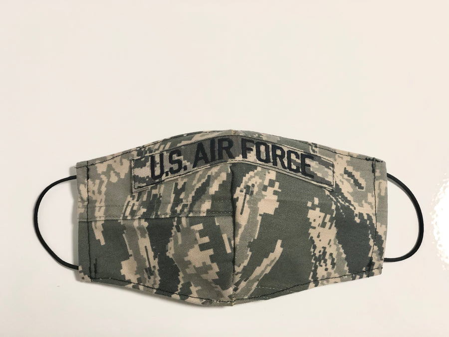 Air Force  Digi Camouflage Face Mask. We're based out of Miami and we're creating handmade face masks to honor our soldiers and veterans. All pre-washed masks are 100% made from upcycle military uniforms and include replaceable Pellon filters and proceeds goes towards military care packages during COVID-19. #sustainable #resuable #upcycle #handmade #handmadefacemasks #facemasks #airforce #airmen #airwomen