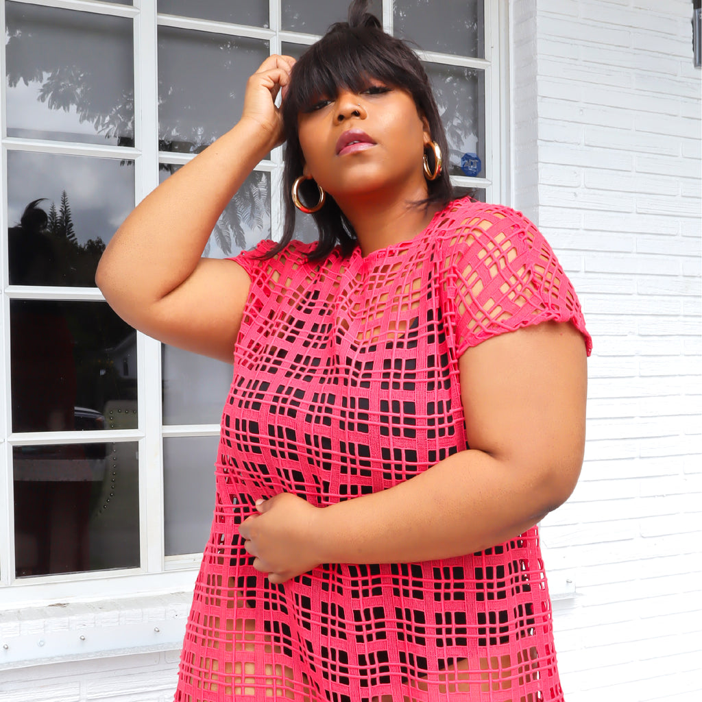 Only two made. What do you mean my dress is see-through? You'll love the grid design of this lace dress, as well as the eye-catching coral shade.   Model fit: 1X Curvy  100% Upcycled Lace  Handmade in Miami
