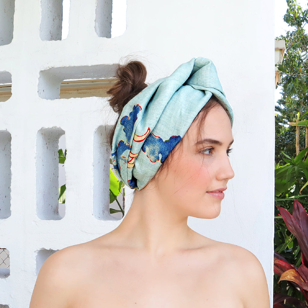 Handmade here in Miami, this dusky blue turban has been created using offcuts of its matching linen dress. A low-key way to turn up the dial on any simple outfit, or pair them together for matchy-matchy realness.  100% Upcycled Linen  Handmade in Miami