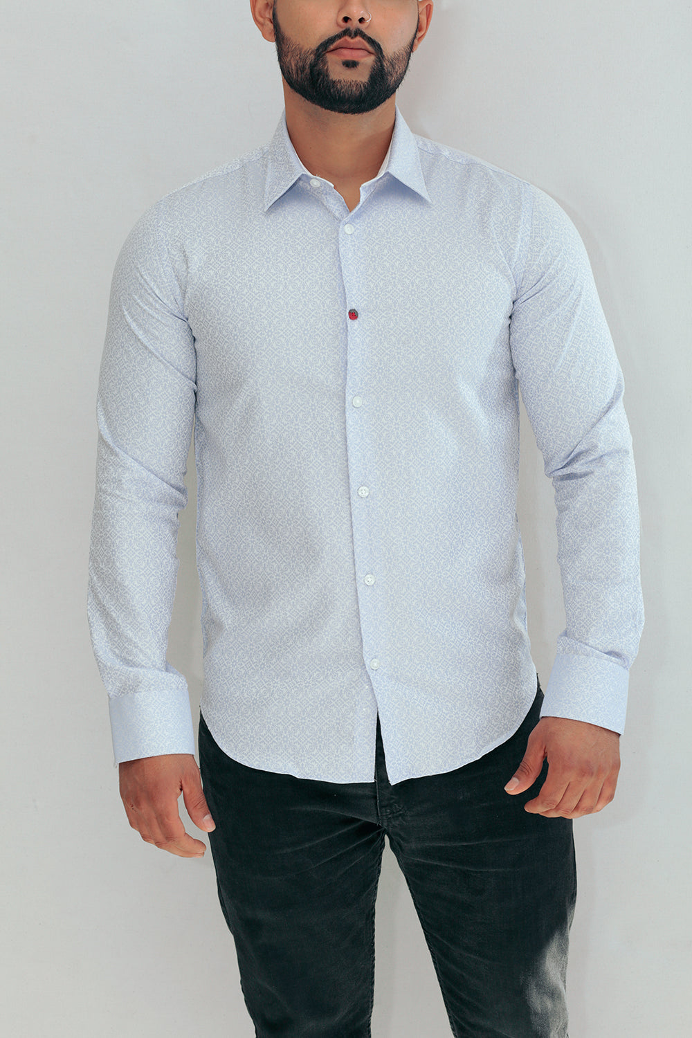 IBIZA Blue/White Mediterranean Printed Mens Shirt In Point Collar