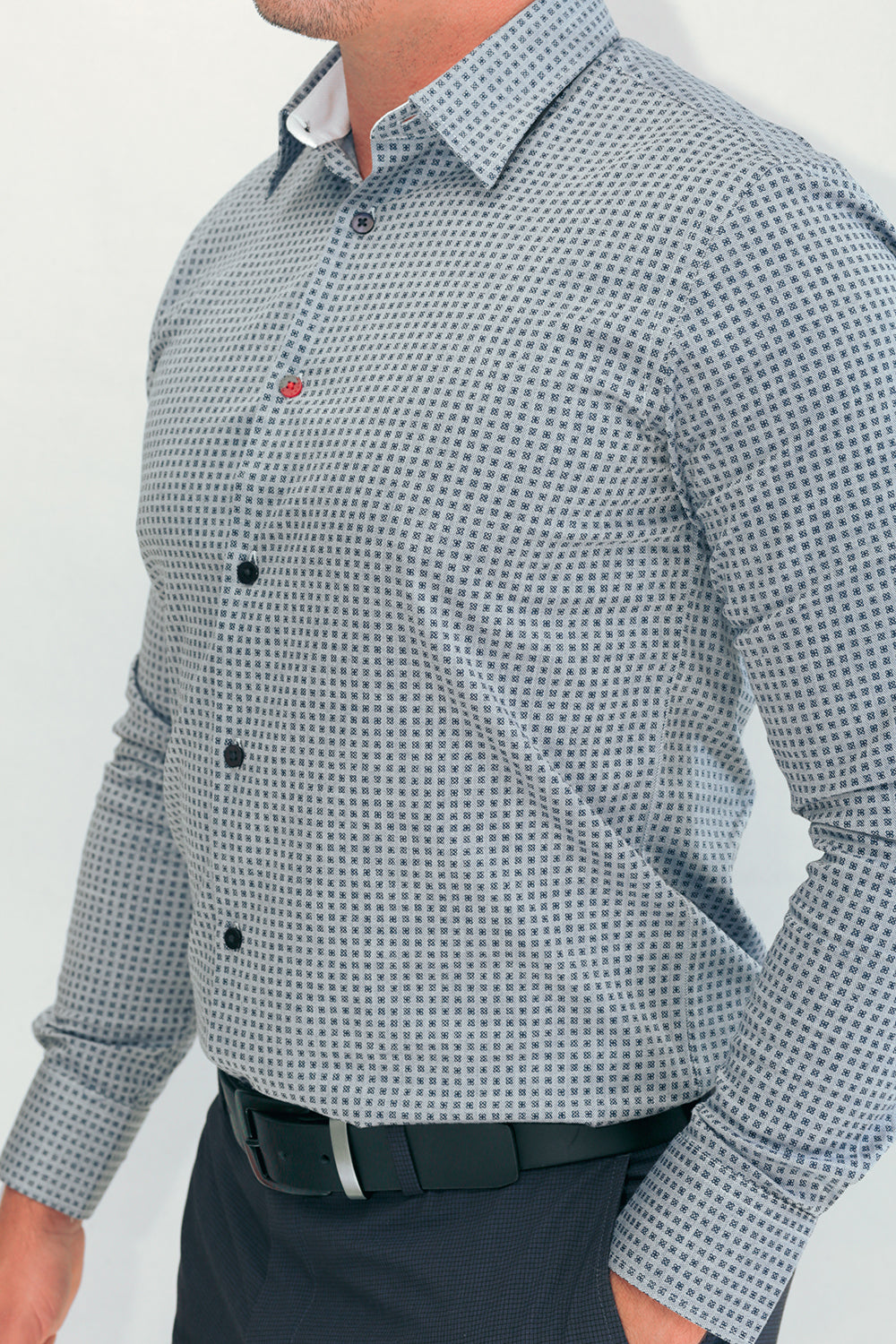 Melilla Microprint Shirts In Light Blue/Navy In Point Collar
