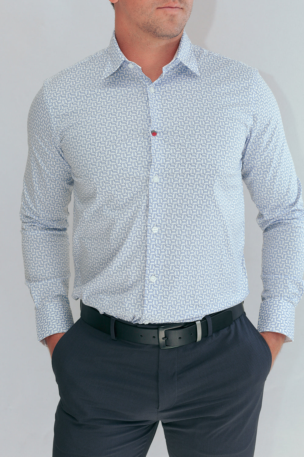 Tangier Wrinkle Free Shirts In White/Blue Mediterranean Prints
