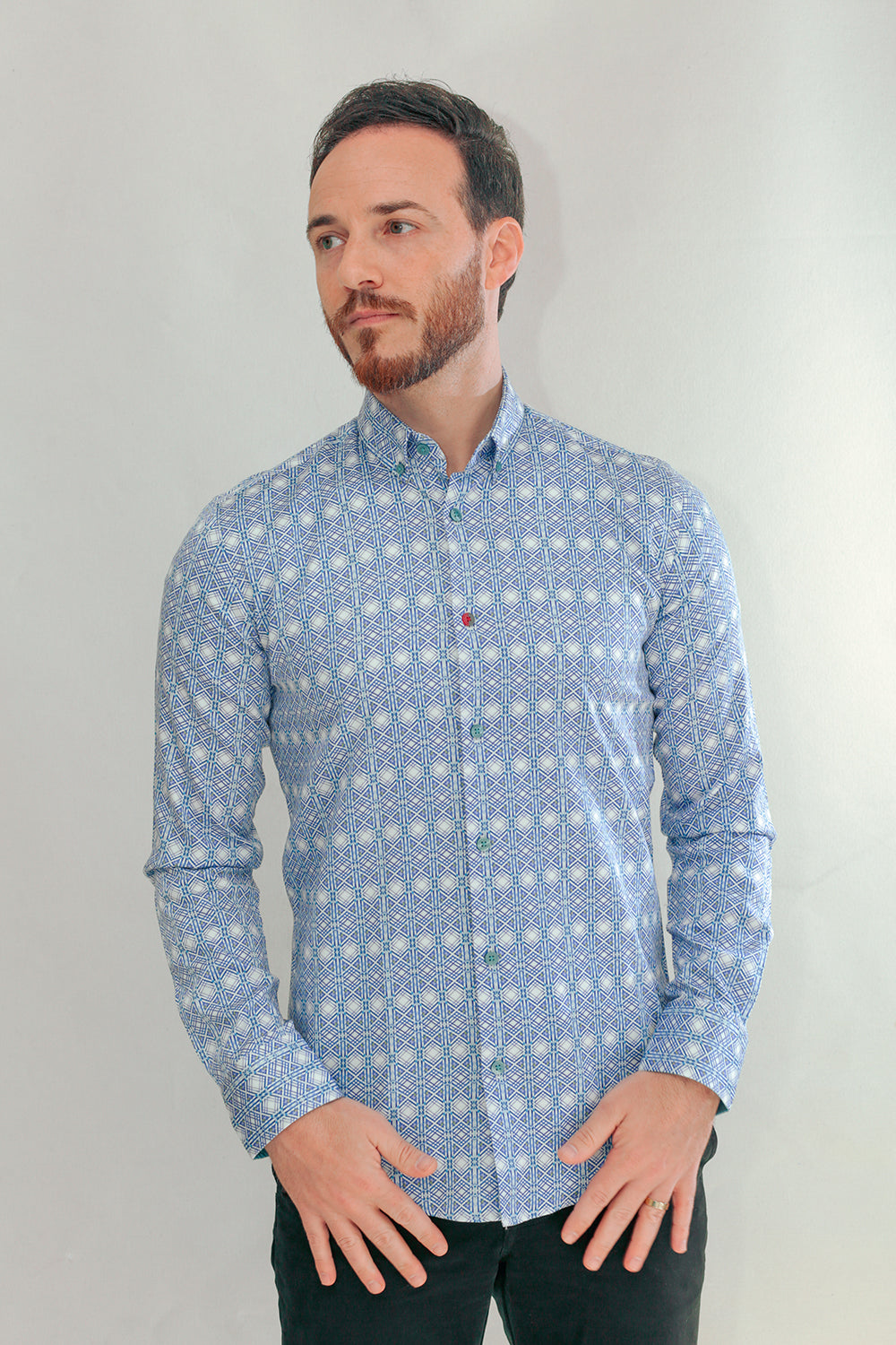 Valencia Slim Fit Dress Shirts In White/Blue In Point Collar