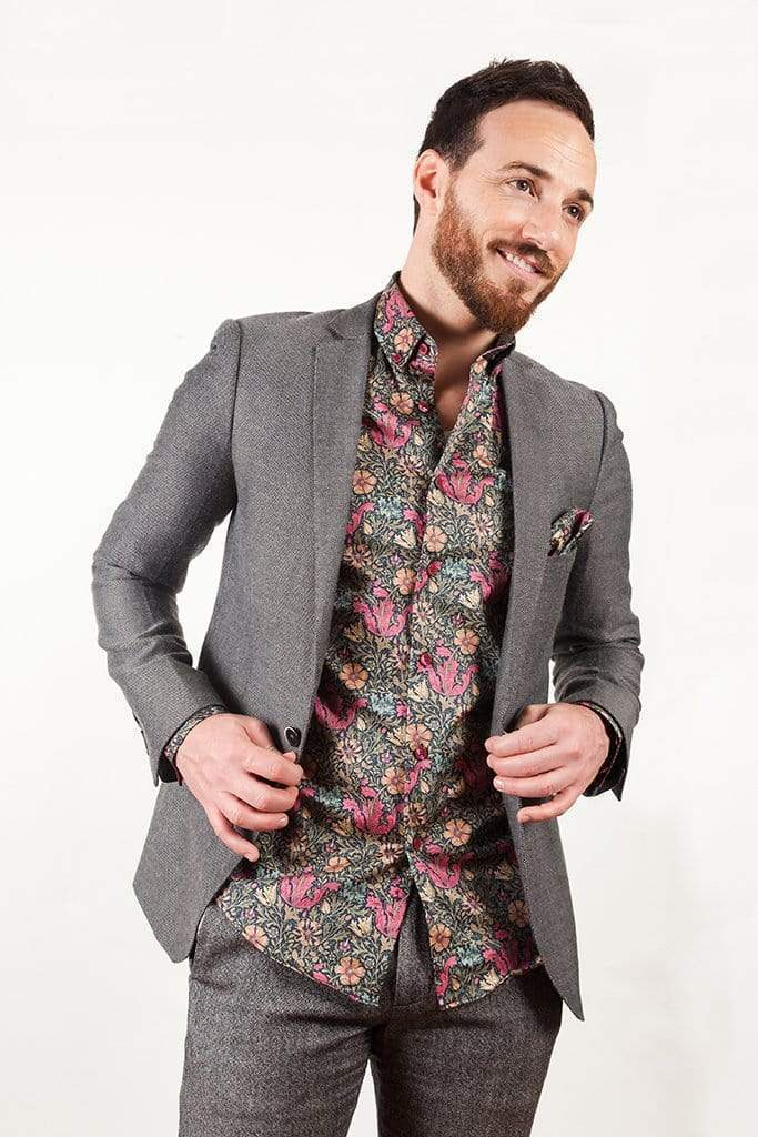 aayatmenswear Mens Button Down Dress Shirts In Black/Red Floral Prints VERSAILLES