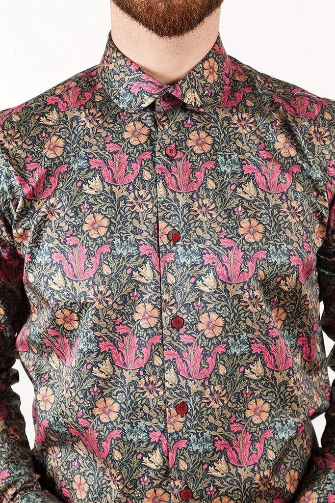 aayatmenswear Casual Dress Shirts In Black/Red Floral Prints VERSAILLES