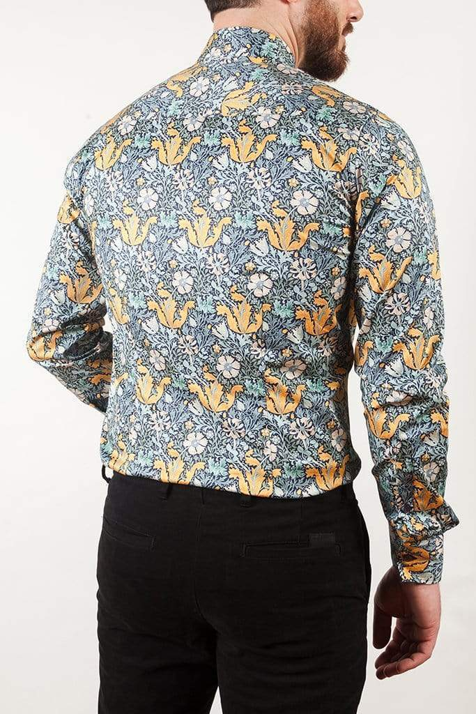 aayatmenswear Button Up Shirts For Men In Blue/Yellow Floral Print MARSEILLE