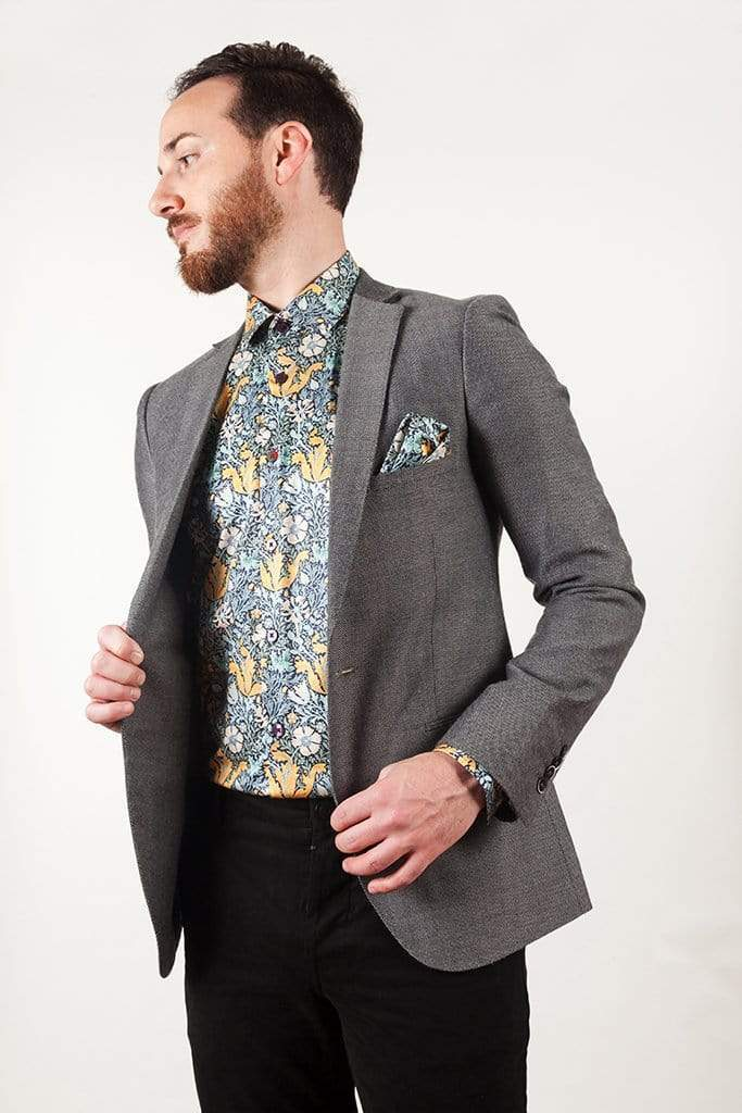 aayatmenswear Blue/Yellow Floral Printed Shirt MARSEILLE