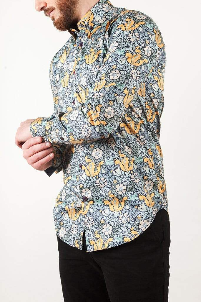 aayatmenswear Slim Fit Button Down Dress Shirt In Blue/Yellow MARSEILLE