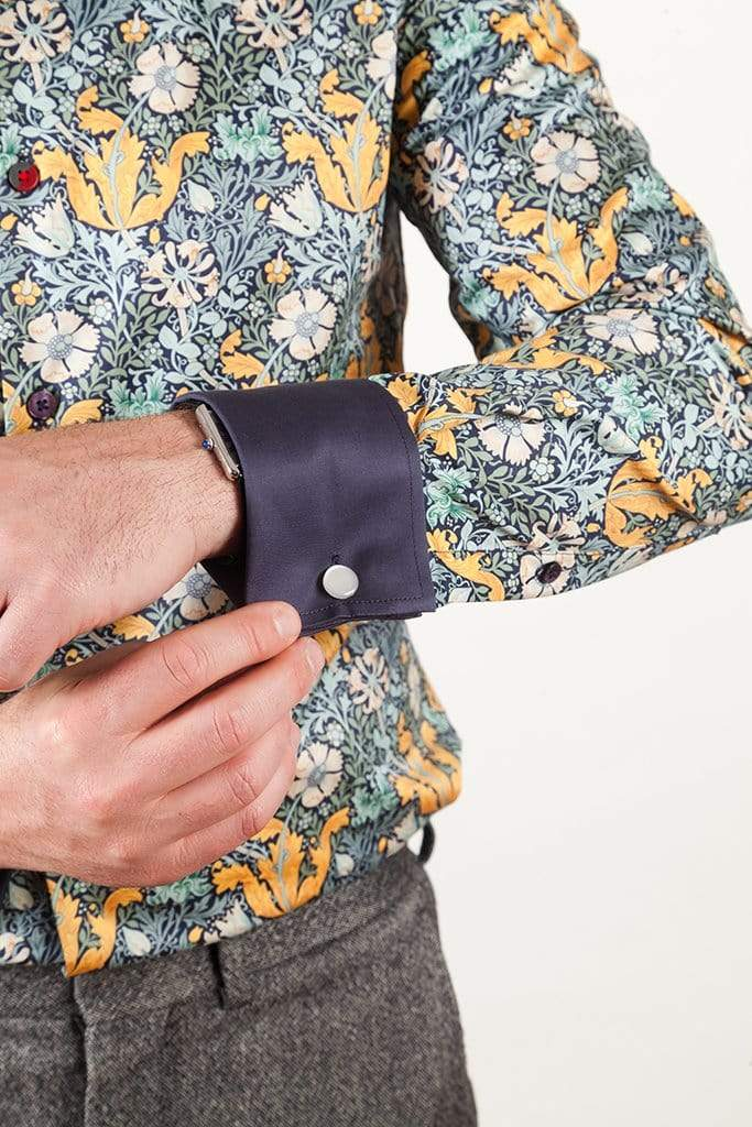 Mens French Cuff Dress Shirts in Blue/Yellow Floral Print MARSEILLE