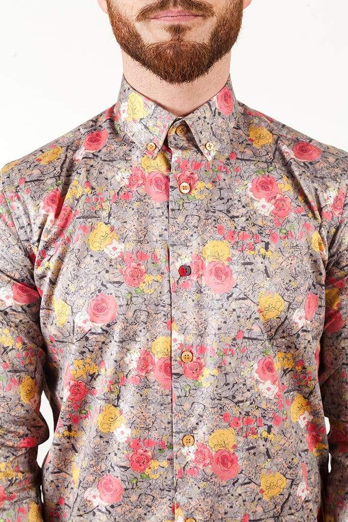 AayatMenswear Grey/Pink Mens Casual Button Down Shirts