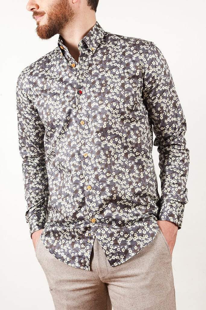 aayatmenswear Curated Mens Button Down Shirts In Grey/White Floral Prints NANTES