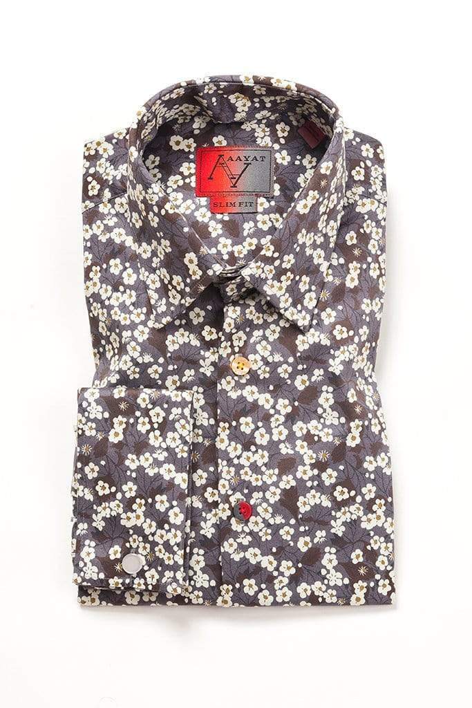 aayatmenswear Mens French Cuff Dress Shirts Slim Fit In Grey/White Floral Prints NANTES
