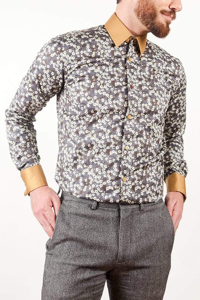 aayatmenswear Grey/White Floral Printed Shirt NANTES